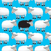 Vector illustration of a seamless background cartoon sheeps with one centered Dark Sheep.