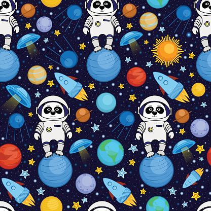 Seamless cartoon space pattern - panda astronaut, spaceship, planets, satellites