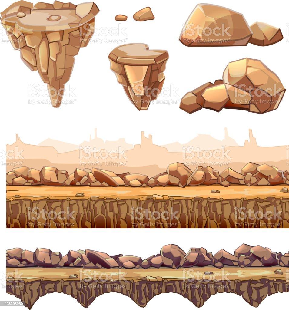Ilustración de Sin Costuras De Dibujos Animados Piedras Y Juegos ...