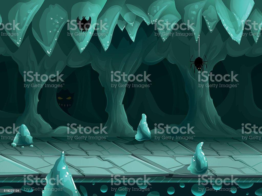 Seamless cartoon underground landscape, vector unending background.