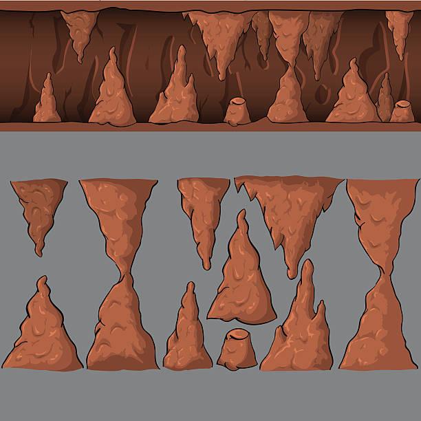 bildbanksillustrationer, clip art samt tecknat material och ikoner med seamless cartoon vector cave - stalagmit