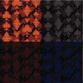 Seamless casino background of four different colours (each on separate layer). Four JPEG fales of each colours (2953x2953, 300 dpi) is also included.