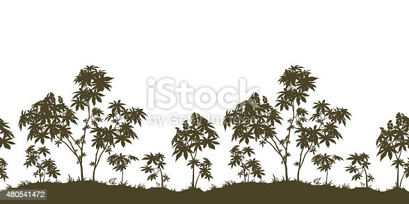 Exotic Horizontal Seamless Landscape, Castor Plants with Leaves and Grass Black Silhouette Isolated on White Background. Vector