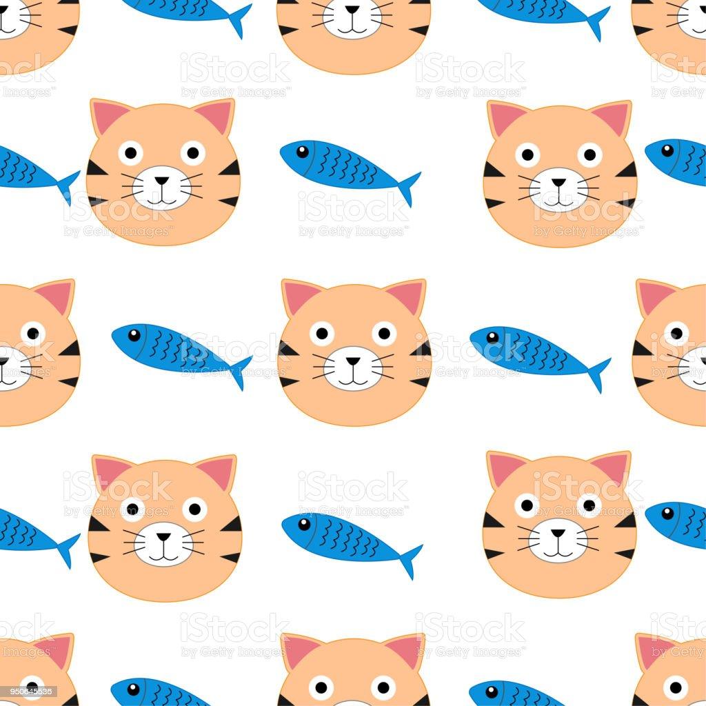 Ilustración de Patrones De Dibujos Animados Gato Y Pescado Sin ...