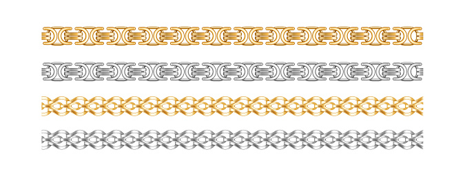 Seamless chain borders. Gold and silver chains elements jewelry objects for necklaces and bracelet