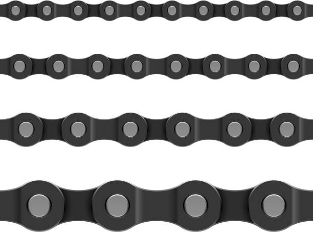 Seamless chain patterned background Chain - horizontally seamless vector illustration bicycle chain stock illustrations