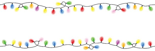 seamless chains of  lights vector illustration of seamless chains of lights christmas clipart stock illustrations