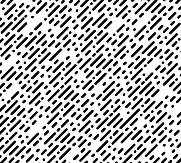 illustrazioni stock, clip art, cartoni animati e icone di tendenza di modello caotico senza soluzione di continuità. striscia diagonale e punti. linee tratteggiate e grafica a punti. sfondo astratto in bianco e nero. - motivo ripetuto