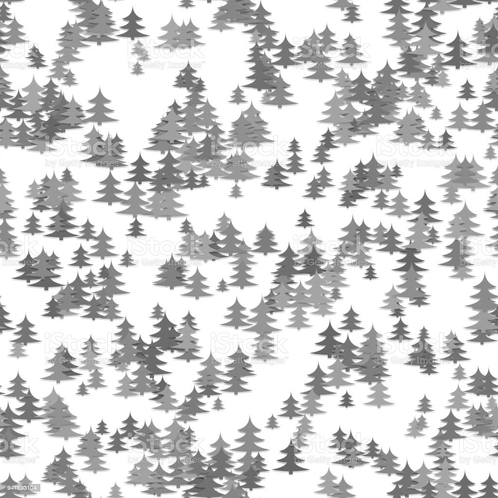Seamless chaotic winter holiday background - grey pine tree pattern Christmas vector graphic vector art illustration