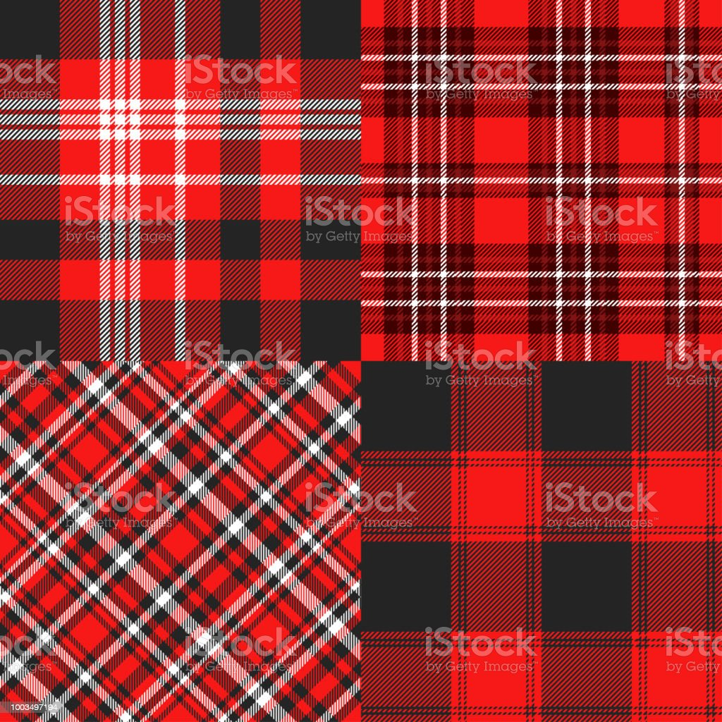 Seamless cheater quilt pattern in red, black and white vector art illustration
