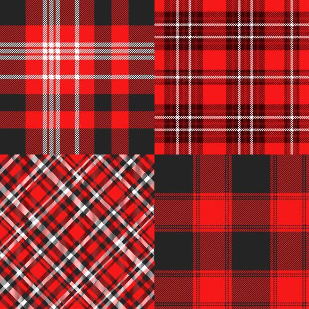 Seamless cheater quilt pattern in red, black and white Allover whole cloth fabric print tartan pattern stock illustrations