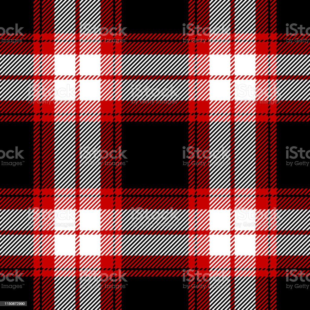 Seamless check plaid pattern vector illustration in black, white, and...