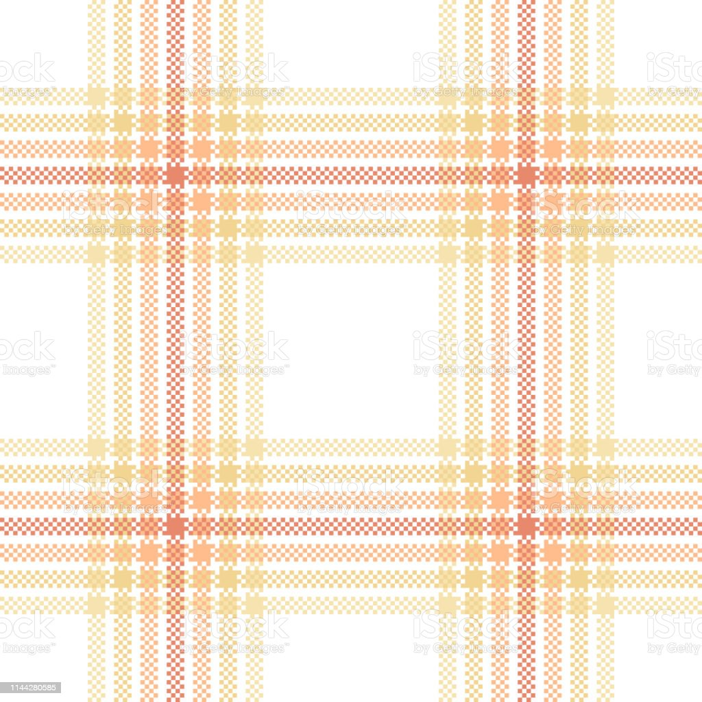 Seamless check plaid pattern vector in pastel orange, yellow, and...