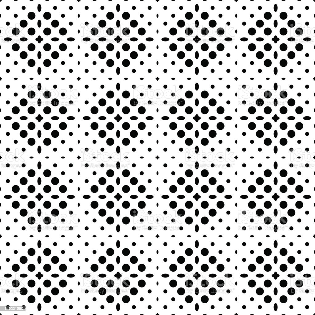Seamless checkered abstract monochrome pattern from square zones filled with circles and ovals pattern for