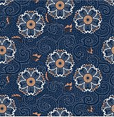 Seamless Oriental Cherry Blossom classic Floral Pattern on Indigo Blue Background. Pattern can be easily tiled up for larger piece. Vector-Based Illustration, No gradient mesh and 3D program used. Download Includes: High Resolution JPG, Illustrator EPS & AI. Please check out more of my stock illustrations and photos at: http://www.istockphoto.com/portfolio/phi2