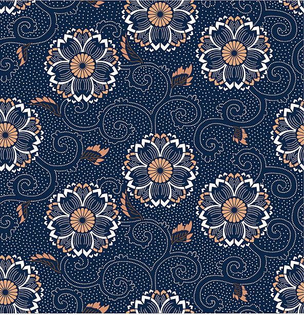 stockillustraties, clipart, cartoons en iconen met seamless cherry blossom floral pattern vector - batik