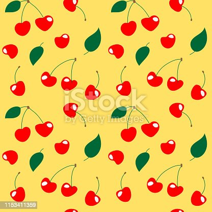 Seamless cherry pattern illustration, yellow background. Perfectly usable for all surface pattern projects.