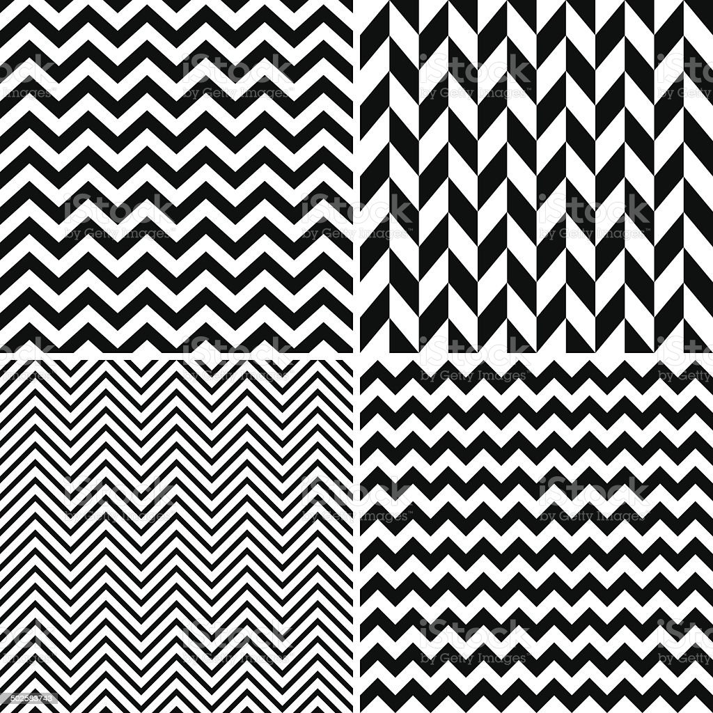 Seamless chevron patterns vector art illustration