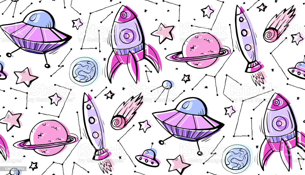 Seamless Child Pattern Of Contour Colorful Illustrations Of