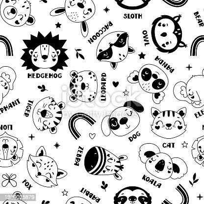 istock Seamless childish pattern with animals 1339025879