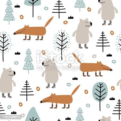 istock Seamless childish pattern with bear, fox in wood 1202099670