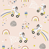 Seamless childish pattern with colorful roller skates. Creative scandinavian style kids texture for fabric, wrapping, textile, wallpaper, apparel. Vector illustration