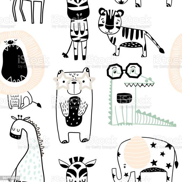 Seamless childish pattern with cute animals in black and white style vector id944503894?b=1&k=6&m=944503894&s=612x612&h=qhlkgliswd0x4llzlwlnd cuarw5hsgcea 0bodkq5u=