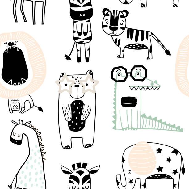 Sin fisuras patrón infantil con animales lindos en estilo blanco y negro. Textura creativa niños escandinavos para la tela, embalaje, textil, papel tapiz, prendas de vestir. Ilustración de vector - ilustración de arte vectorial