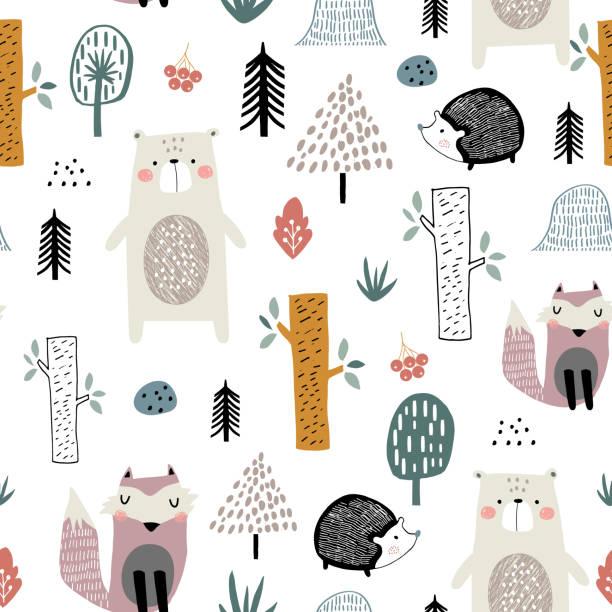 kindisch musterdesign mit niedlichen bären, füchse, igel im wald. kreative kinder skandinavischen stil textur für gewebe, umhüllung, bekleidung, textil, tapete. vektor-illustration - igel stock-grafiken, -clipart, -cartoons und -symbole