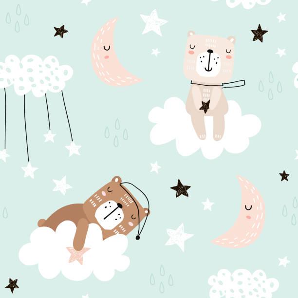 stockillustraties, clipart, cartoons en iconen met naadloze kinderachtig patroon met schattige beren op wolken, maan, sterren. creatieve scandinavische stijl kinderen bitmappatroon voor stof, zeewieren, textiel, behang, kleding. vectorillustratie - baby toy