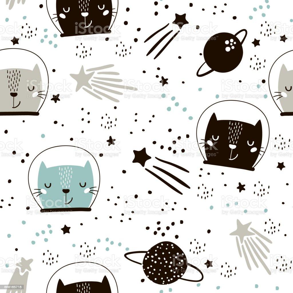 Ilustração de Sem Costura Padrão Infantil Com Astronautas De Gatos ...
