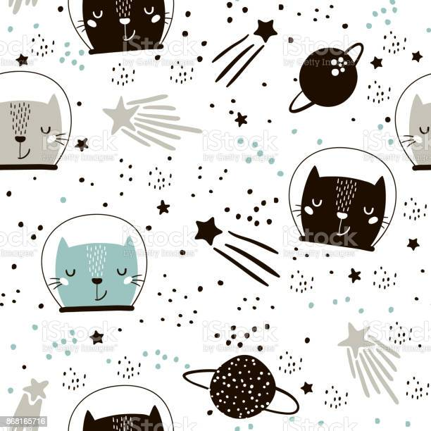 Seamless childish pattern with cute cats astronauts creative nursery vector id868165716?b=1&k=6&m=868165716&s=612x612&h=1xqo2bpxms24jbqrtk911i e8aiokzzb ho882qzzam=