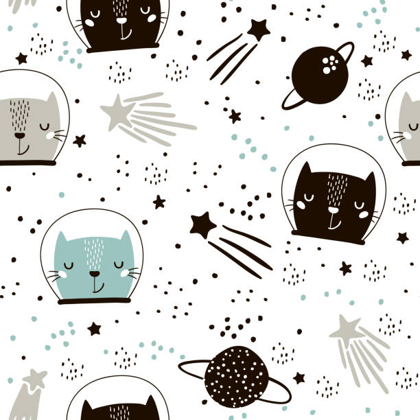 Seamless childish pattern with cute cats astronauts. Creative nursery background. Perfect for kids design, fabric, wrapping, wallpaper, textile, apparel vector art illustration
