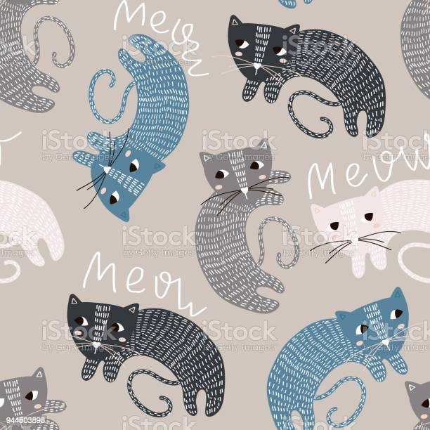 Seamless childish pattern with cute cats creative kids texture for vector id944503898?b=1&k=6&m=944503898&s=612x612&h=gxepjekuj4lv9fs q5m5l7ktby j0cx0 ezzfwbzmja=