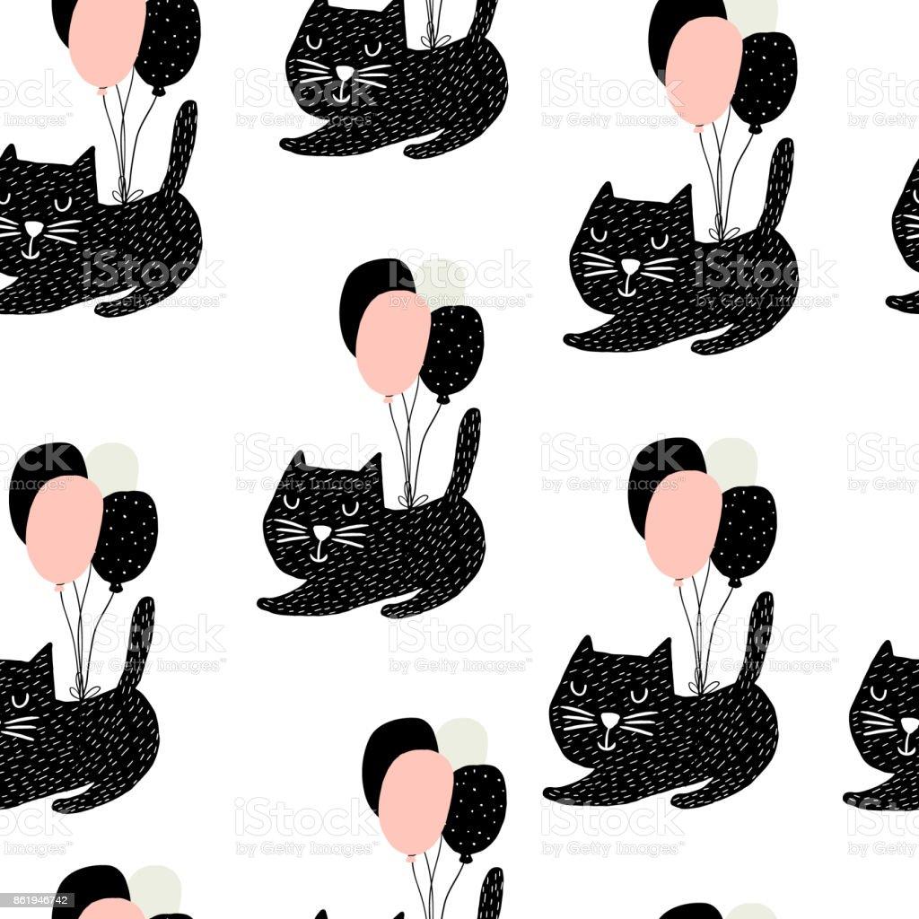 Ilustración de Infantil De Patrones Sin Fisuras Con Los Lindos Gatos ...