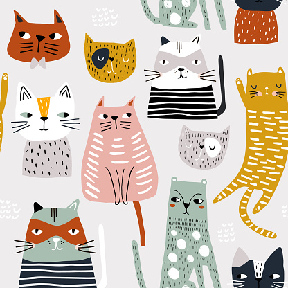 Seamless childish pattern with cute hand drawn cats. Creative kids hand drawn texture for fabric, wrapping, textile, wallpaper, apparel. Vector illustration