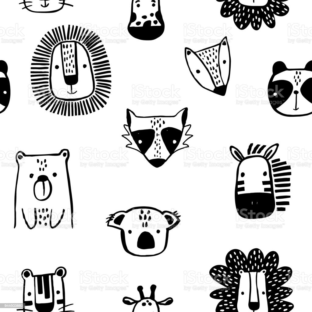 Seamless childish pattern with cute ink drawn animals in black and white style. Creative scandinavian kids texture for fabric, wrapping, textile, wallpaper, apparel. Vector illustration