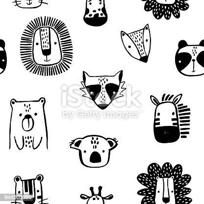 Sin fisuras patrón infantil con tinta Linda dibujado animales en estilo blanco y negro. Textura creativa niños escandinavos para la tela, embalaje, textil, papel tapiz, prendas de vestir. Ilustración de vector