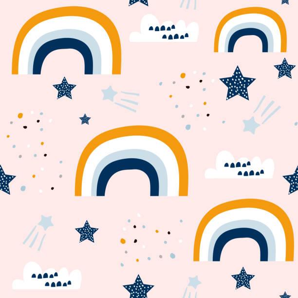 stockillustraties, clipart, cartoons en iconen met naadloze kinderachtig patroon met schattige regenboog, sterren, wolken. het patroon van de creatieve scandinavische kinderen voor stof, zeewieren, textiel, behang, kleding. vectorillustratie - background baby
