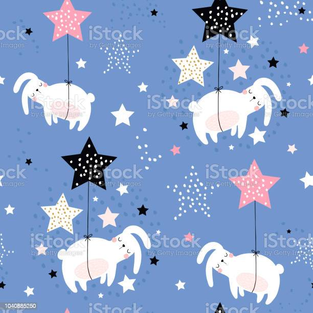 Seamless childish pattern with cute sleeping rabbits on stars kids vector id1040885250?b=1&k=6&m=1040885250&s=612x612&h=rgazlmgj59onkqlzfctfek76rhaar7vu6xqicnlbidw=