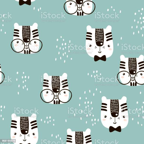 Seamless childish pattern with cute tiger face creative nursery for vector id868165676?b=1&k=6&m=868165676&s=612x612&h=ktmvltzeffcs2bj7fkhqr7plrwvaqbkoawoheliillc=