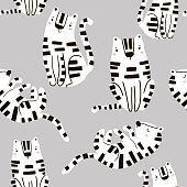 Seamless childish pattern with cute tigers in black and white style. Creative kids texture for fabric, wrapping, textile, wallpaper, apparel. Vector illustration