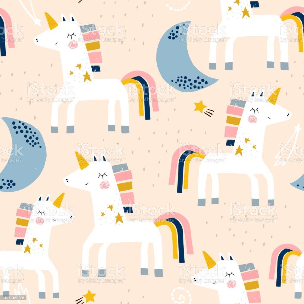 Ilustracion De Sin Fisuras Patron Infantil Con Lindos Unicornios Y