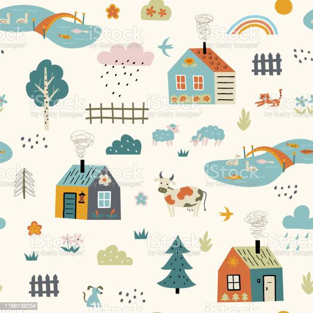 Seamless childish pattern with cute village cartoon farm landscape vector id1166136254?b=1&k=6&m=1166136254&s=612x612&h=lfnqhqhvvzr88du gbaabilrsjrmv nxzkmy1jbec8a=