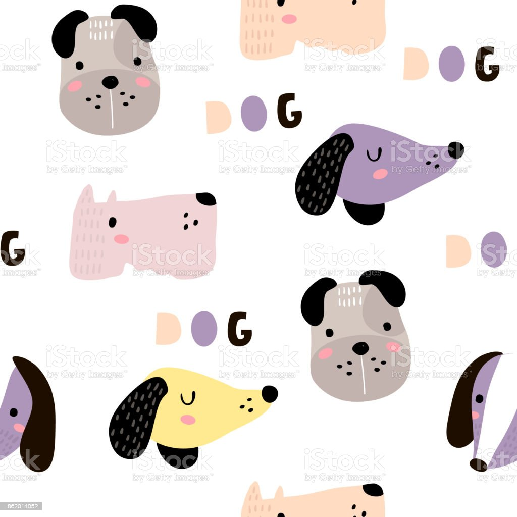 シームレスな幼稚なパターン犬動物の顔を持つ創造的な保育所の背景キッズ