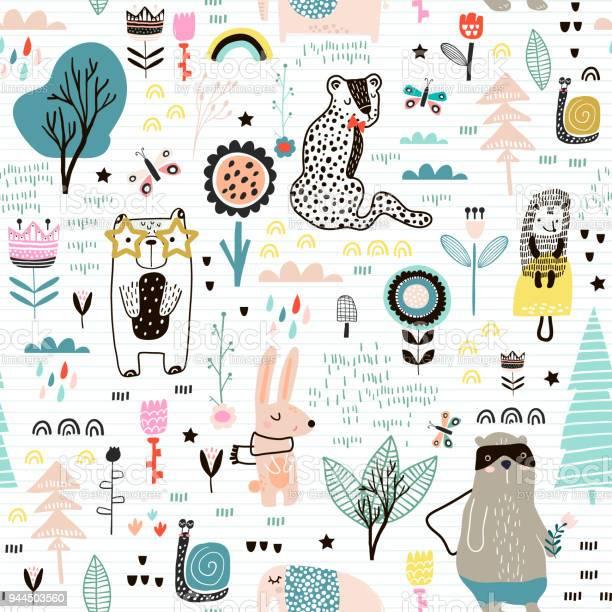Seamless childish pattern with fairy flowers bearbunny leopard kids vector id944503560?b=1&k=6&m=944503560&s=612x612&h=bkwpltpk7b3jxlnuhcguqdek9pivfxizvqcdyspfblq=