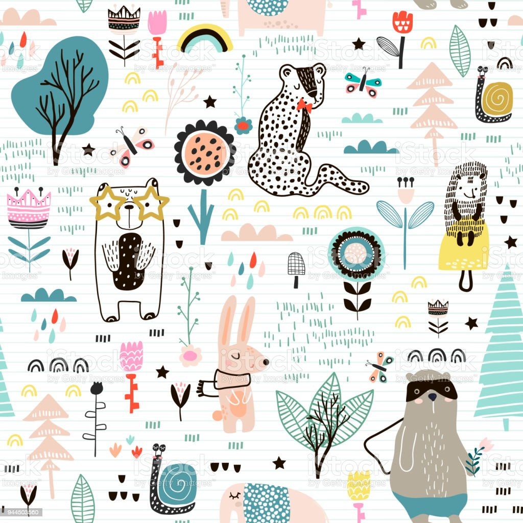 妖精の花、クマ、ウサギ、ヒョウ、ハリネズミとのシームレスな幼稚なパターン.折り返し、テキスタイル、壁紙、衣料品の生地のための創造的な子供市テクスチャです。ベクトル図 ベクターアートイラスト