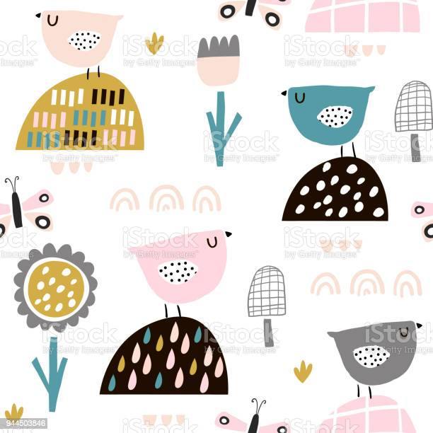 Seamless childish pattern with fairy flowers birds butterflies kids vector id944503846?b=1&k=6&m=944503846&s=612x612&h=sej iwswnc8hr fpkai0pspepyu8y5jpn0ddpgs7cas=