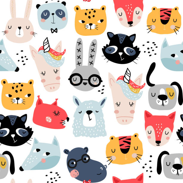 seamless childish pattern with funny animals faces . creative scandinavian kids texture for fabric, wrapping, textile, wallpaper, apparel. vector illustration - leopard texture stock illustrations