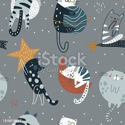 istock Seamless childish pattern with funny cats in space. Creative kids hand drawn texture for fabric, wrapping, textile, wallpaper, apparel. Vector illustration 1319576884